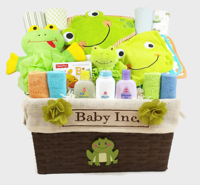 Custom made baby gift baskets baby shower as your baby grows gift frog themed gender neutral baby gift basket negle Image collections