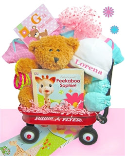 GIRL Starts With G! Baby Gift Basket Radio Flyer Wagon
