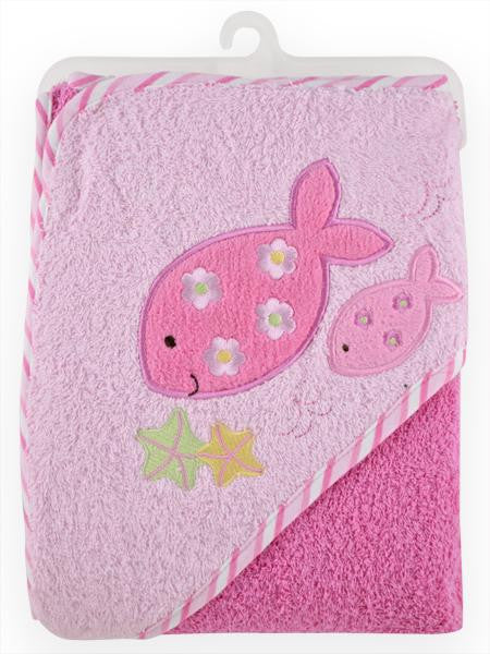 Just Born Hooded Baby Girl Bath Towel - Pink Fish - As Your Baby Grows Gift Boutique - 1