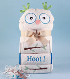 What a Hoot! Owl Baby Hooded Towel Gift Set (Free Personalization) - BOY