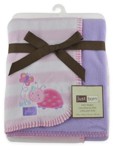 Just Born Reversible Fleece Baby Girl Blanket - Pink and Lavender