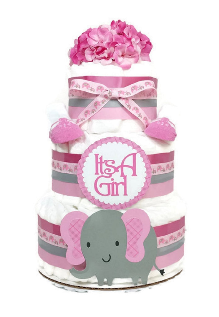 Baby Girl Elephant Diaper Cake Baby Shower Centerpiece Pink Plaid