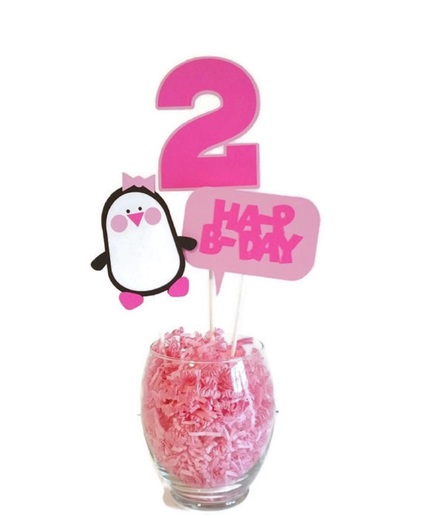 Girl Penguin Birthday Party Cake Toppers Centerpiece Sticks Girl Birthday Party Decorations with Age - Hot Pink and Light Pink