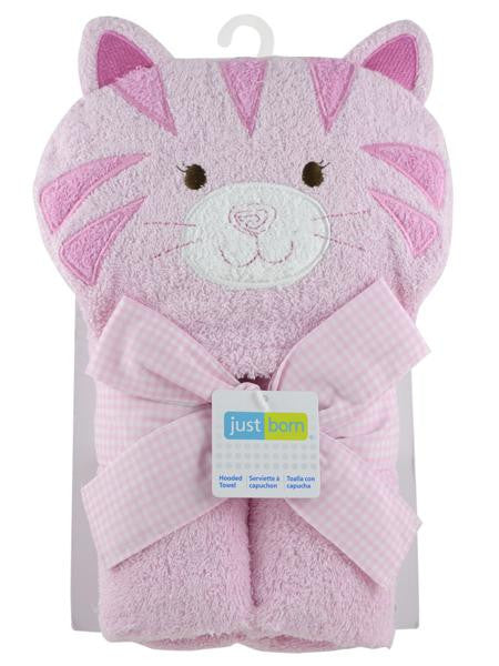 Pink Kitty Cat Baby Girl Hooded Bath Towel