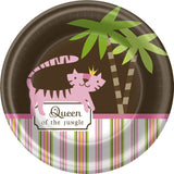 Queen of the Jungle Pink Girl Baby Shower Party Dessert Plates - As Your Baby Grows Gift Boutique
