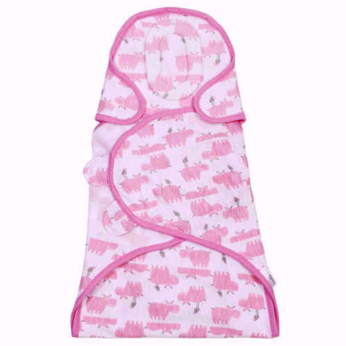 SootheTime Snooze Swaddle Cotton Baby Girl Sleep Wrap - Pink Hippos