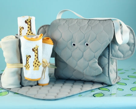 Elephant Diaper Tote Bag Gender Neutral Baby Gift Set 1