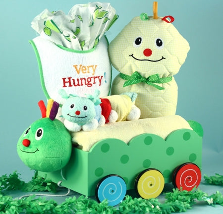 Caterpillar Welcome Wagon Gender Neutral Baby Gift Basket