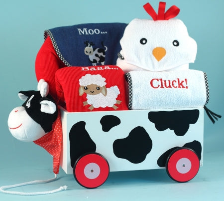 Barnyard Farm Animals Welcome Wagon Gender Neutral Baby Gift Basket
