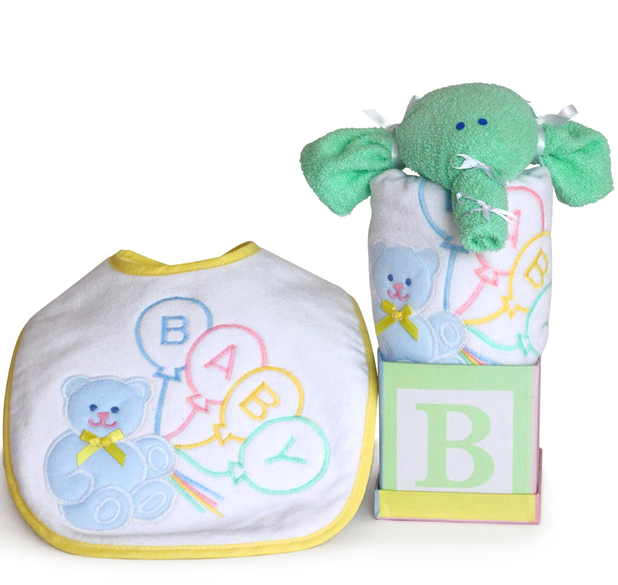 Bear Baby Bib Elephant Bath Cloth Gender Neutral Gift Set