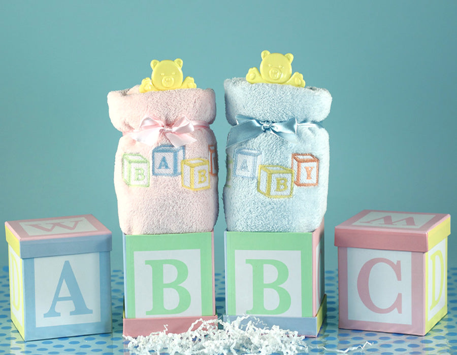 Alphabet Blocks Baby Blanket Gift Set