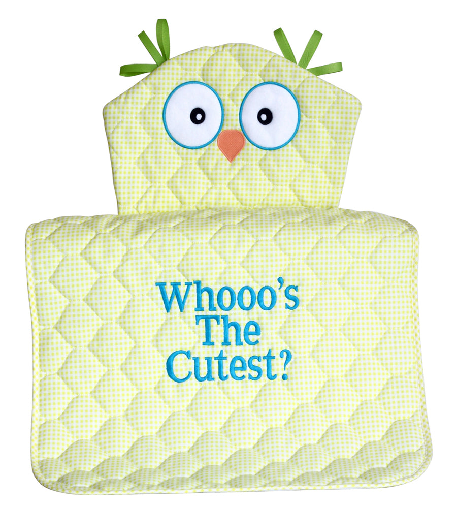 Whooo's The Cutest Owl Diaper Changing Pad Gender Neutral Baby Gift - YELLOW
