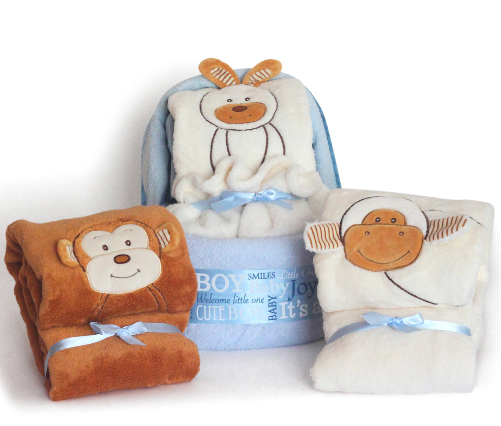 Animal Blanket Diaper Cradle Baby Boy Gift Set