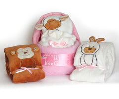 Animal Blanket Diaper Cradle Baby Girl Gift Set - Pink