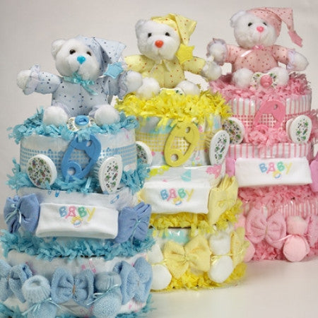 Sweet Bear Baby Boy Diaper Cake Blueberry