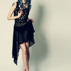 Witchy Sheer Lace Dress with Asymmetric Drape in Small to Plus Sizes