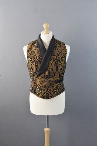 Mens Steampunk Double Breasted Waistcoat in Bronze Brocade