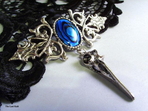 Blue Abalone Gothic Brooch With Silver Bird Skull
