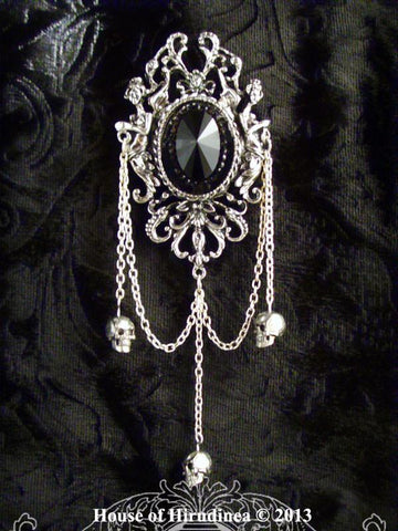 Brooch - Large Gothic Brooch Victorian Memento Mori Style