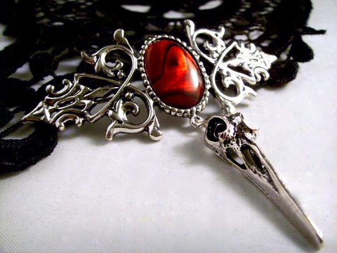 Silver Bird Skull Brooch, Red Abalone Gothic Jewellery