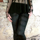 Leggings - Black Velvet Stripe Gothic Leggings