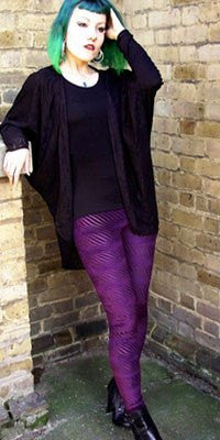 Leggings - Gothic Striped Purple Burnout Velvet Leggings