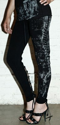 Leggings - Lip Service Autopsy Black Laced Up Leggings Spine Print