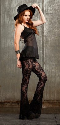 Leggings - Shadows In Spain Flared Boot Cut Lace Leggings