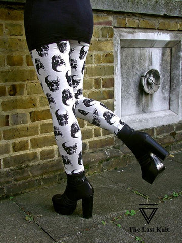 Leggings - White Gothic Skull Leggings In Small To Plus Size