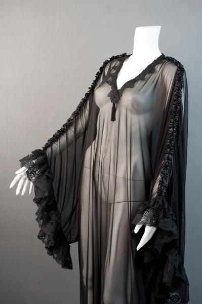 Gothic Mesh Kaftan, Sheer See Through Dress, Vampire Loungewear