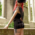 Shorts - Black Velvet Gothic Shorts With Lace