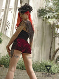 Shorts - Gothic Red Crushed Velvet Shorts With Lace Trim