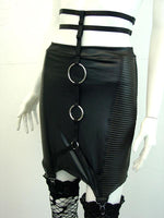 Skirt - Black Harness Garter Skirt With Suspenders, Goth Fetish Wear In Small To Plus Sizes
