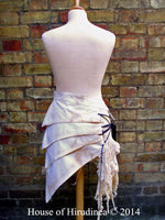 Back of Post Apocalyptic Asymmetric Skirt In Antiqued White Sizes Small To XXL