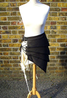 Post Apocalyptic Skirt In Black And White, Sizes Small To XXL