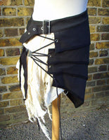 Skirt - Post Apocalyptic Asymmetric Skirt In Black And White, Sizes Small To XXL