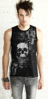 Top - Lip Service Autopsy Mens Black Tank Top Skull Print