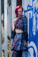 Top - Rainbow Serpent Crop Top With Black Lace Bell Sleeves