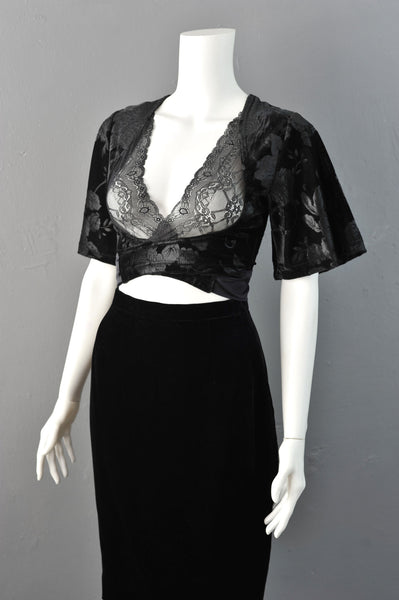 Black Velvet Wrap Crop Top Bolero with Lace Bust, Gothic Romantic