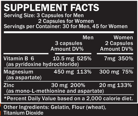 Recover ZMA Supplement Facts