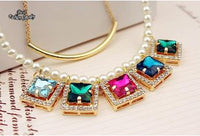 Beautiful Festival Double Chain Pearl and Synthetic Diamond Short Necklace