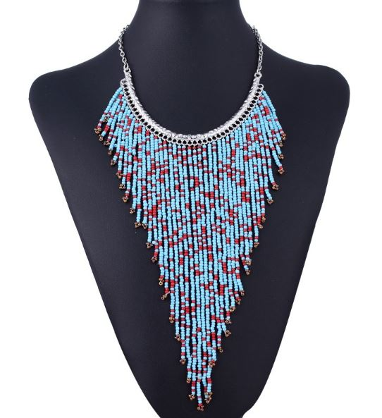 Bohemian Style Long Tassel Pendant-Turquoise Color Beads