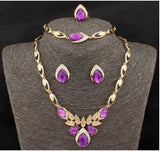 Four Piece Crystal Bee Shape Jewelry Set.  Includes Ring, Earrings, Bracelet & Necklace