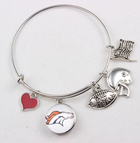 Football Charms Bangle Bracelet
