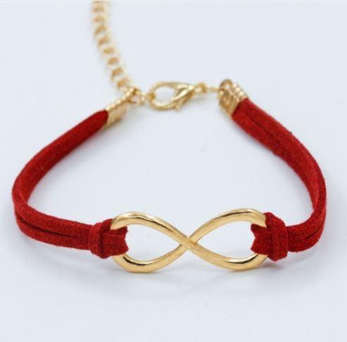 Delicate, Trendy Infinity Leather Bracelet