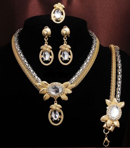 18k Gold Filled Austrian Crystal Dangle Necklace with Earrings, Bracelet & Ring