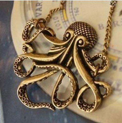 A Unique Vintage Octopus on a Long Sweater Chain