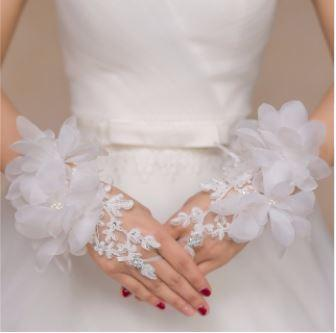 Gorgeous Lace Floral Fingerless Bridal Gloves