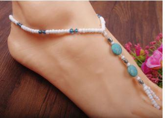 Boho Beaded Barefoot Sandals - White Beads with faux Turquoise Round Focal Beads