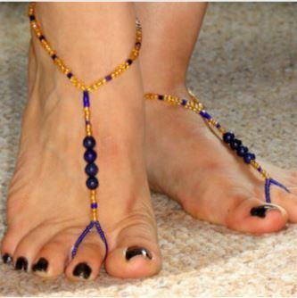 Beautiful Beachy Barefoot Sandals made of Blue & Gold Beads!